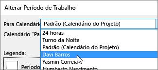 Recursos de lista para calendário