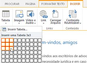 Inserir uma tabela no site público do SharePoint Online