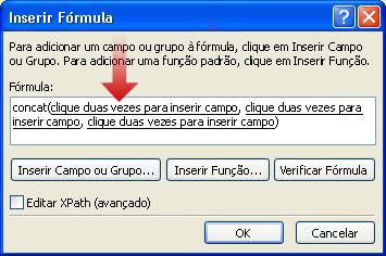 Clicar duas vezes para inserir o primeiro campo a ser usado como parte do nome do formulário