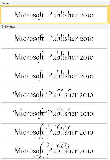 Conjunto estilístico do Publisher 2010 para tipografia avançada em fontes OpenType