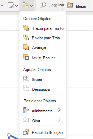 O menu organizar no PowerPoint para a Web