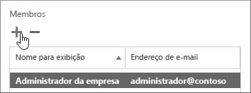 Mostra a caixa de diálogo Usuário de Garantia de Serviço com o ícone Adicionar em destaque na seção denominada Membros.