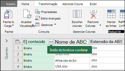 Pressione o botão de combinar binários de coluna conteúdo de consulta ou na seção combinar da faixa de opções do Power Query