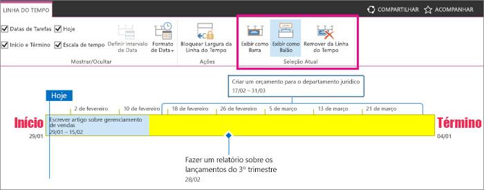 Tarefa cronograma exibição seção atual na guia de linha do tempo