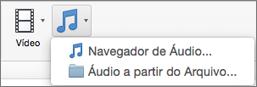 Insira um menu de áudio com áudio das opções do navegador de áudio e arquivo