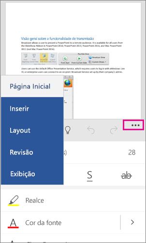 Faixa de Opções do Office para Windows Phone 10