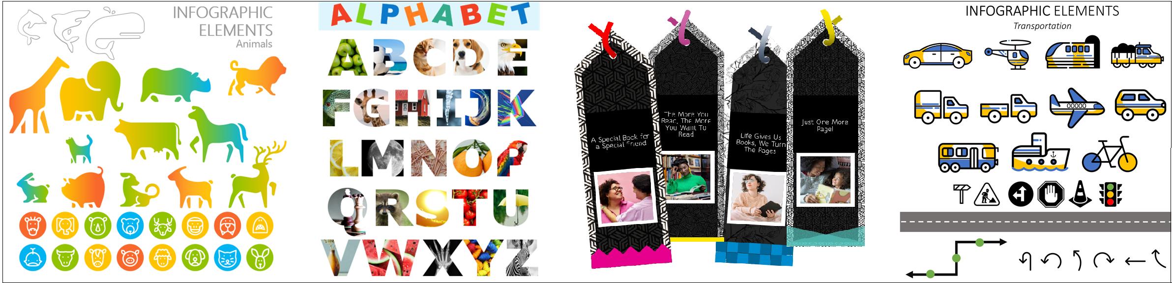 Colagem de imagens para atividades para ajudar as crianças a aprender