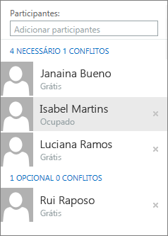 Participantes no Assistente de Agendamento
