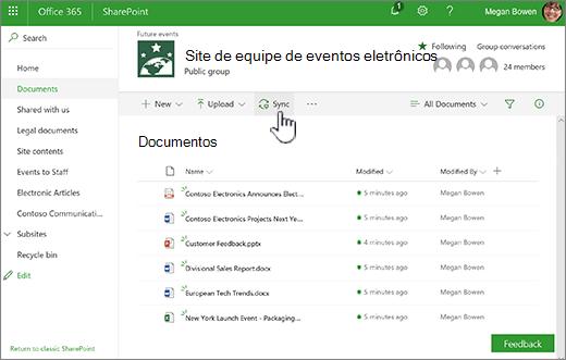 Biblioteca de documentos com o botão de sincronização selecionado