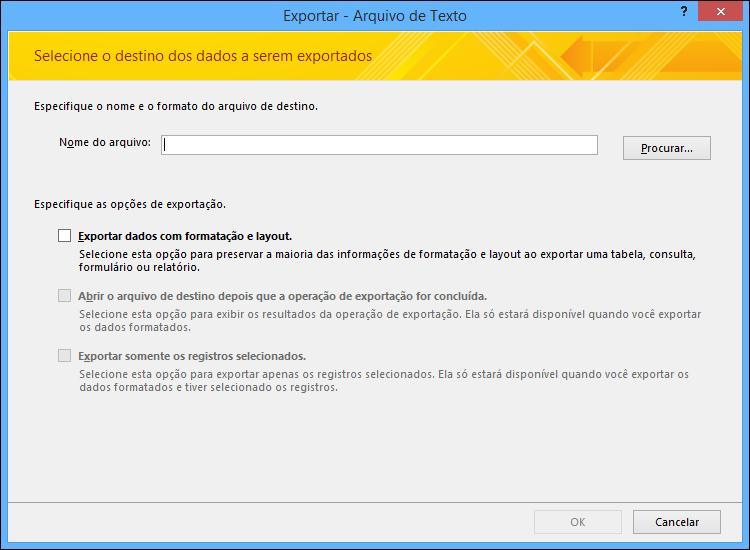 Selecione as opções de exportação na caixa de diálogo Exportar Arquivo de Texto.