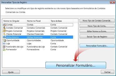 Caixa de diálogo Personalizar os registros existentes ou criar um novo
