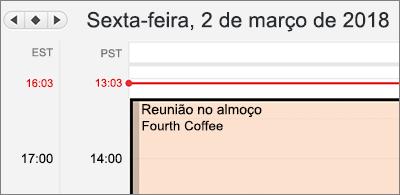 Versão ampliada do calendário com dois fusos horários diferentes à esquerda