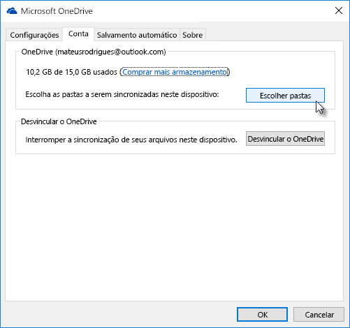Janela de configurações da Web do OneDrive