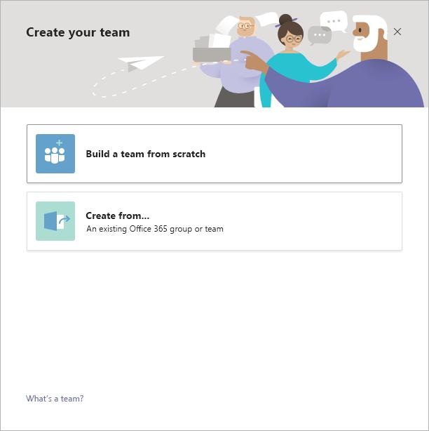 O Teams cria um equipe do zero
