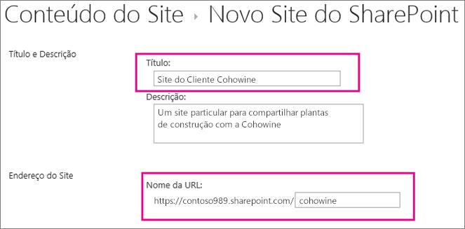 Na caixa Título, digite um nome para o subsite, na caixa URL insira o nome do cliente para adicioná-lo à URL do site.