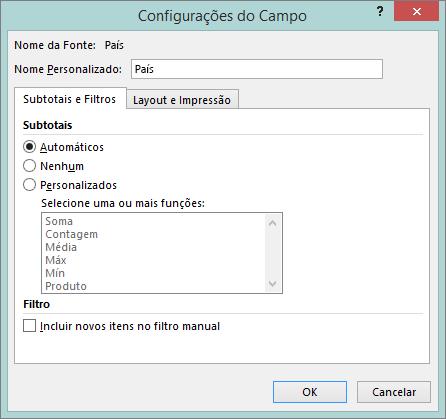 Guia subtotais e filtros na caixa de diálogo Configurações do campo