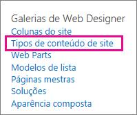 Link de tipos de conteúdo de site na página Configurações do Site