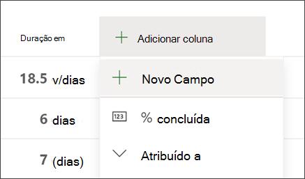 Captura de tela do Project mostrando a opção Adicionar cabeçalho de coluna e novo campo