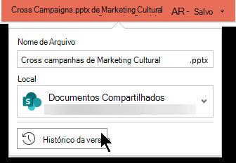 Selecione o nome do arquivo na barra de título para obter acesso ao histórico de versões do arquivo