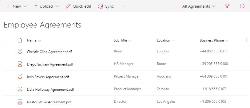 Captura de tela da biblioteca de contratos do funcionário