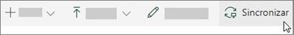 A barra de ferramentas do SharePoint Online com a opção de sincronização selecionada