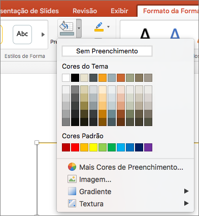 Captura de tela mostra as opções disponíveis no menu preenchimento da forma, incluindo sem preenchimento, cores de tema, cores padrão, mais cores de preenchimento, imagem, gradiente e textura.