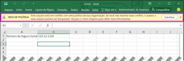 Barra de mensagem mostra a dica de política no Excel 2016
