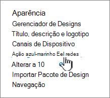 Elementos de navegação no menu configuração do site