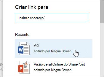 Adicionar um link em uma biblioteca de documentos a um item recente