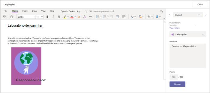 Adicione comentários a uma tarefa dos alunos usando o suplemento do Bloco de Anotações de Classe encontrado em Tarefas do Microsoft Teams.
