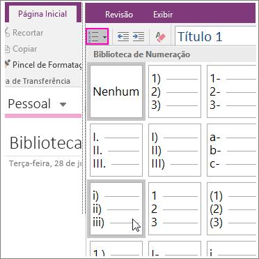 Captura de tela de como adicionar numeração a uma página no OneNote 2016.