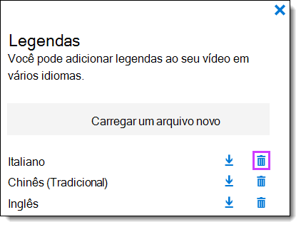 Legendas de excluir vídeo do Office 365