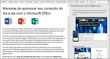 Documento à esquerda e painel Transformar em Página da Web à direita