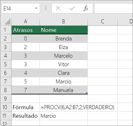 Exemplo da fórmula PROCV procurando uma correspondência aproximada