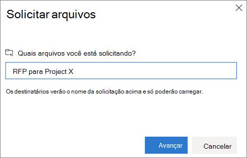 A caixa de diálogo solicitar arquivos após a solicitação de arquivos no OneDrive for Business