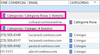 Clique no cabeçalho da coluna Categorias para classificar a lista por cor.