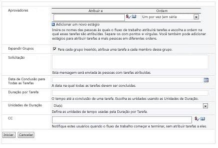 Formulário de inicialização de fluxo de trabalho