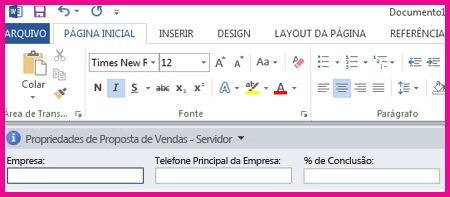 O Painel de Informações do Documento exibe caixas de texto em um formulário para coletar metadados dos usuários.