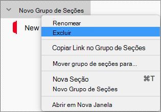 Excluir grupo de seções no OneNote para Mac