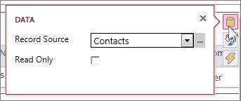 A caixa de diálogo Dados de um modo folha de dados da Web