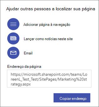 Opções para ajudar outras pessoas a encontrarem sua página.