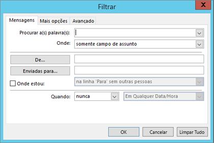 Escolha Filtro se quiser importar apenas determinados emails.