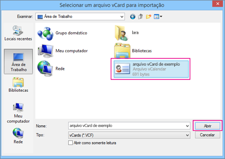 Escolha o arquivo vCard que deseja importar para um arquivo .csv.
