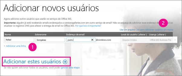 Adicionar usuários ao locatário do Office 365