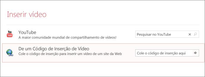 Mostra a opção Inserir Vídeo no PowerPoint