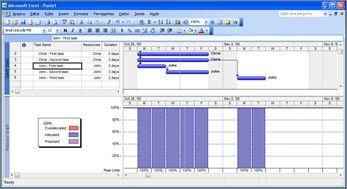 Modo de exibição do Microsoft Project mostrando as tarefas de Vinícius e Pedro