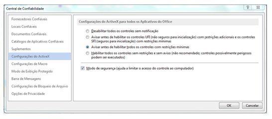 Área Configurações do ActiveX da Central de Confiabilidade