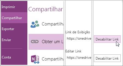 Captura de tela de como desabilitar um link no OneNote 2016.