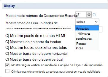 Captura de tela mostra a opção selecionada para mostrar a régua vertical no modo de exibição de Layout de impressão e opções para unidades de medida, como polegadas ou centímetros