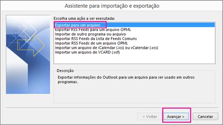 Escolha Exportar para um arquivo.